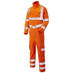 Leo Workwear Hi Vis Coverall ISO 20471 Class 3 Polyester Cotton CV01-O Molland Orange
