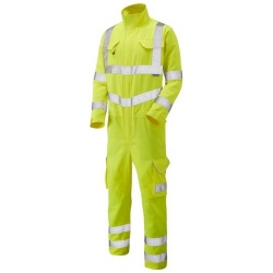 Leo Workwear Hi Vis Coverall ISO 20471 Class 3 Polyester Cotton CV01-Y Molland Yellow