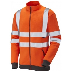 Leo Workwear SS03-O Libbaton Hi Vis Full Zip Track Top Sweatshirt Orange ISO 20471 Class 3