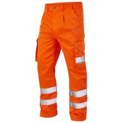 Leo Workwear CT01-O Bideford Superior Railway Cargo Hi Vis Trousers Orange