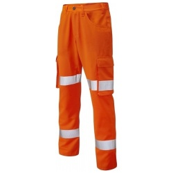 Leo Workwear CT03-O Yelland Lightweight Cargo Orange Hi Vis Trouser