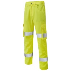 Leo Workwear CT03-Y Yelland Lightweight Cargo Yellow Hi Vis Trouser