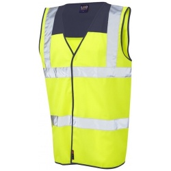 Leo Workwear W09-NV/Y Bradworthy Hi Vis Vest Yellow / Navy Blue Yoke ISO 20471 Class 2