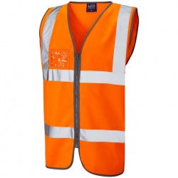 Leo Workwear W02-O Rumsam Hi Vis Vest Zipped and ID Pocket Orange ISO 20471 Class 2