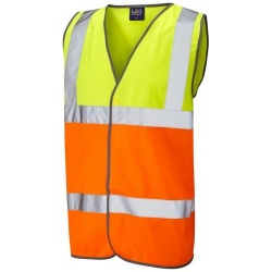 Leo Workwear W01-Y/O Tarka Hi Vis Waistcoat Yellow / Orange ISO 20471 Class 2