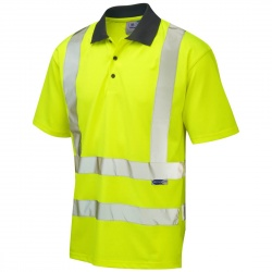 Leo Workwear P02-Y Rockham EcoViz Coolviz Hi Vis Polo Shirt Yellow