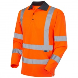 Leo Workwear P06-O Woolsery EcoViz Coolviz Class 3 Hi Vis Polo Shirt Long Sleeve Orange