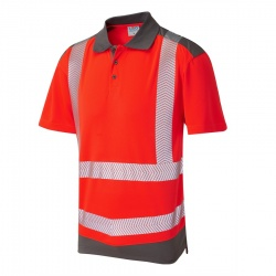 Leo Workwear P14-R/GY Peppercombe ISO 20471 Class 2 Dual Colour Coolviz Plus Polo Shirt Red / Grey