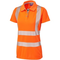 Leo Workwear PL03-O Pippacott ISO 20471 Class 2 Coolviz Plus Ladies Hi Vis Polo Shirt Orange