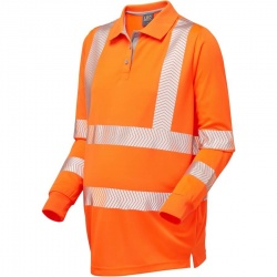 Leo Workwear PM08-O Yarnacott Maternity Coolviz Plus Hi Vis Long Sleeve Polo Shirt Orange