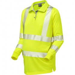 Leo Workwear PM08-Y Yarnacott Maternity Coolviz Plus Hi Vis Long Sleeve Polo Shirt Yellow