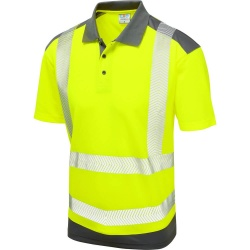 Leo Workwear P14-Y/GY Peppercombe ISO 20471 Class 2 Dual Colour Coolviz Plus Polo Shirt Yellow / Grey