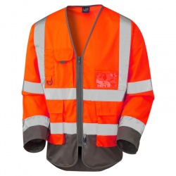 Leo Workwear S12-O/GY Wrafton Hi Vis Class 3 Superior Sleeved Vest Orange/Grey