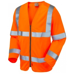 Leo Workwear S15-O Merton Class 3 LFS Sleeved Zip Waistcoat Orange