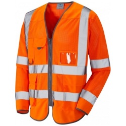 Leo Workwear S20-O Burrington Hi Vis Class 3 Coolvis Long Sleeve Waistcoat Orange