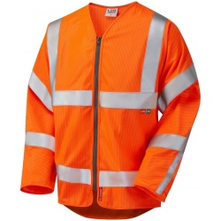 Leo Workwear S25-O Huish ISO 20471 Class 3 LFS Anti-Static Sleeved Zip Waistcoat Orange