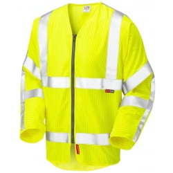 Leo Workwear S25-Y Huish ISO 20471 Class 3 LFS Anti-Static Sleeved Zip Waistcoat Yellow