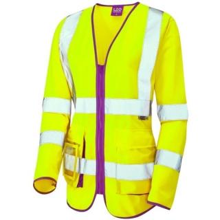 3abdb1a914cae Leo Workwear SL12-Y Beaworthy Ladies Long Sleeve Superior Hi Vis Vest Yellow