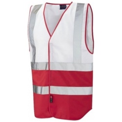 Leo Workwear W05-WH-RD Pilton Hi Viz Two Tone Waistcoat White / Red