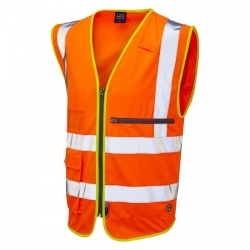 Leo Workwear W24-O Foreland ISO 20471 Class 2 Superior Vest with Tablet Pocket Orange