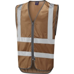 Leo Workwear W35-BZ Commodore Zipped Reflective Vest Non ISO 20471 Bronze