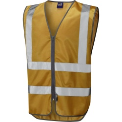 Leo Workwear W35-GO Commodore Zipped Reflective Vest Non ISO 20471 Gold