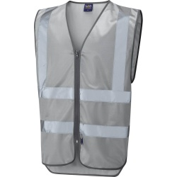 Leo Workwear W35-SI Commodore Zipped Reflective Vest Non ISO 20471 Silver