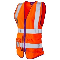 Leo Workwear Ladies Superior Orange Hi Vis Vest Lynmouth WL11-O