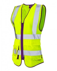 Leo Workwear WL11-Y Lynmouth Ladies Superior Hi Vis Waistcoat Yellow with Purple Binding