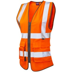 Leo Workwear WL11-O Lynmouth Ladies Superior Hi Vis Vest Orange