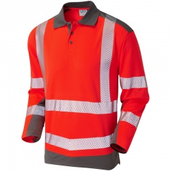 Leo Workwear P15-R/GY Wringcliff Coolviz Plus Sleeved Polo Shirt Red / Grey