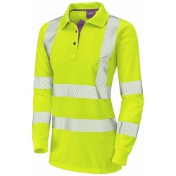 Leo Workwear PL08-Y Pollyfield ISO 20471 Class 2 Coolviz Plus Ladies Sleeved Hi Vis Polo Shirt Yellow