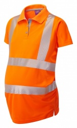 Leo Workwear PM03-O Lovacott ISO 20471 Class 2 Maternity Coolviz Plus Hi Vis Polo Shirt Orange