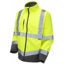 Leo Workwear SJ01-Y Buckland Hi Vis Softshell Jacket Yellow / Graphite Grey