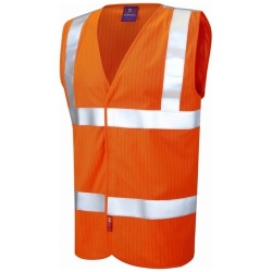 Leo Workwear W19-O Clifton ISO 20471 Class 2 LFS Anti-Static Waistcoat Orange