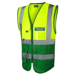 Ambulance Officer Hi Vis Executive Waistcoat Yellow / Emerald Green