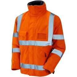 Leo Workwear Hi Vis Railway Bomber Jacket Waterproof GO/RT with Fleece Lining Orange