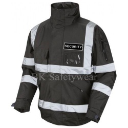 Hi Vis Security Bomber Jacket Black With Black Badge