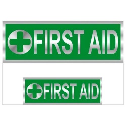 First Aid Badges Reflective with Green (Back & Front print)