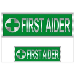 First Aider Badges Reflective with Green (Back & Front print)