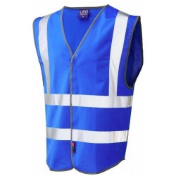 Leo Workwear W05-RO Pilton Blue Hi Vis Vest VISITOR with Fareshare logo to front and back White