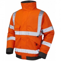 Leo Workwear Railway J01-O Hi Vis Bomber Jacket GO/RT Orange