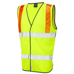 Leo Workwear W13-Y Brendon Hi Vis Class 2 Vest Waistcoat Yellow Orange Braces