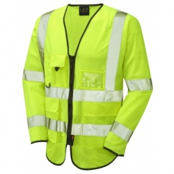 Leo Workwear S12-Y Wrafton Hi Vis Class 3 Superior Sleeved Waistcoat Yellow