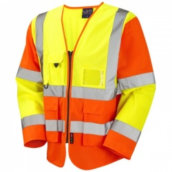 Leo Workwear S12-Y/O Wrafton Hi Vis Class 3 Superior Sleeved Waistcoat Yellow / Orange