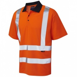 Leo Workwear P01-O Croyde Class 2 Hi Vis Polyester Cotton 175gsm Polo Shirt Orange