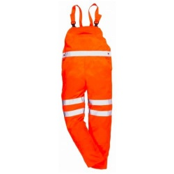 Portwest Hi Vis Railway Polycotton Bib & Brace GO/RT Orange