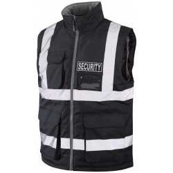 Hi Vis Security Bodywarmer Black With Black Security Badge
