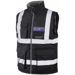 Hi Vis Security Bodywarmer Black With Blue Security Badge