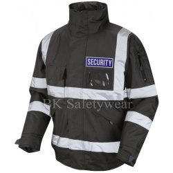 Hi Vis Security Bomber Jacket Black With Blue Badge
